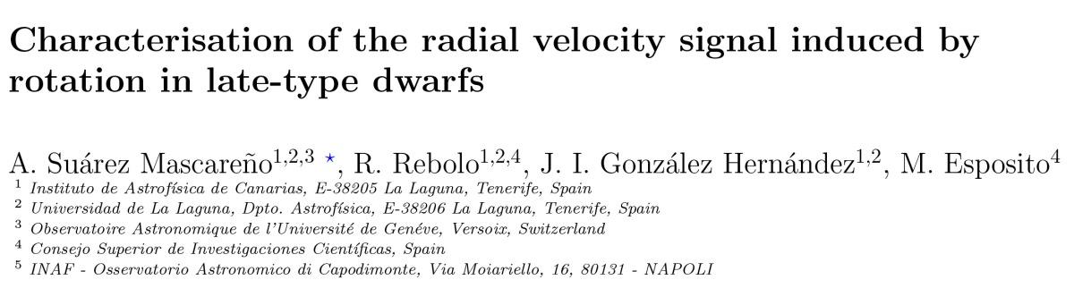 Nuevo artículo - Caracterización de señales de velocidad radial inducidas por rotación en estrellas de tipo tardío
