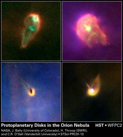 Discos protoplanetarios en la Nebulosa de Orión (Fuente: NASA)